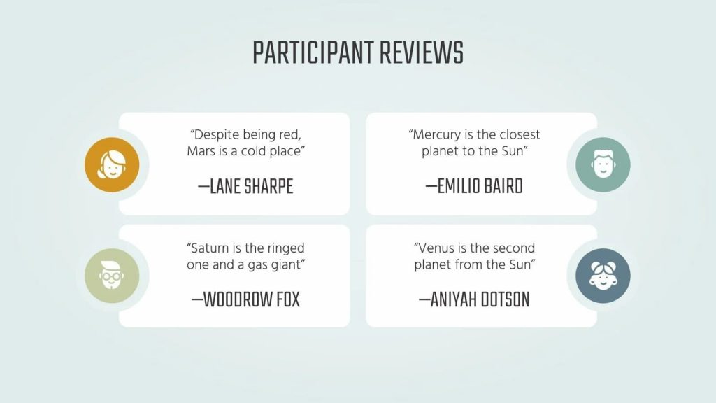 Feedback from participants.