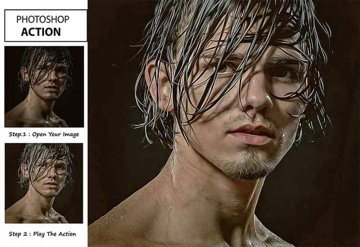 Portrait of a Man The Oil Canvas Photoshop. Step by step Photo before and after.