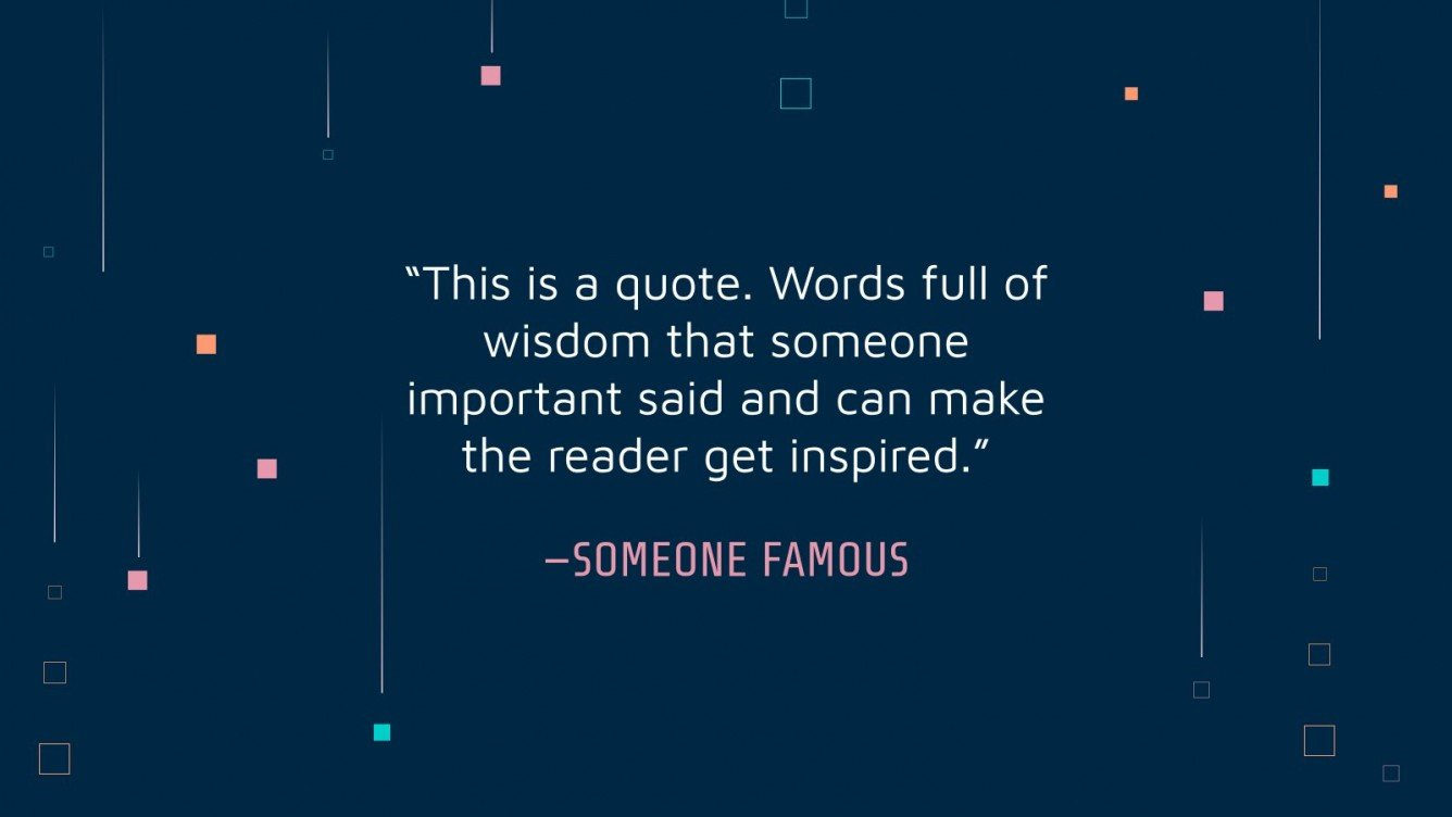 Motivating phrase on a blue background with small elements.