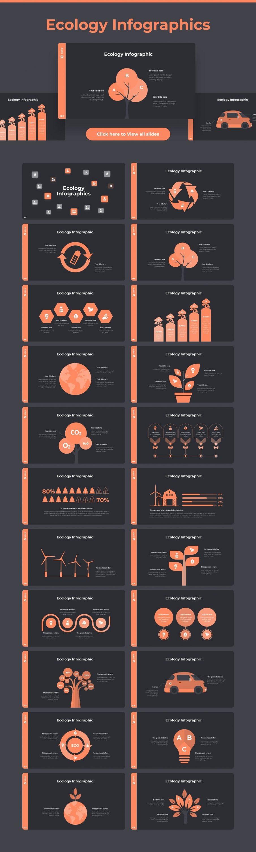Ecology infographic Dark theme. Pitch Deck & Presentation V3.0.