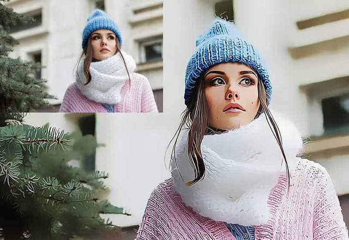 Girl in a warm hat and scarf The Oil Canvas Photoshop. Photos before and after.