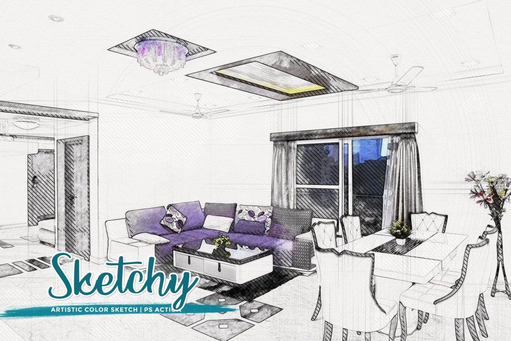 Sketchy Artistic Color Sketch. Modern Art Painting 19 in 1 Photoshop Action Bundle.