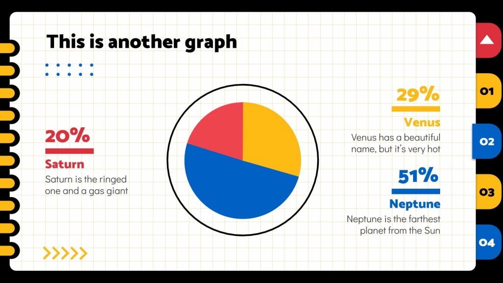 A very simple pie chart that follows the style of this template and complements it perfectly.