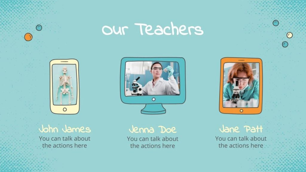 Creative presentation of your team. For each employee, his gadget is selected.