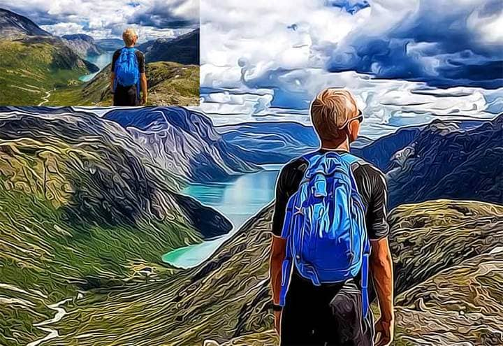 Man against the background of the mountains The Oil Canvas Photoshop. Photos before and after.