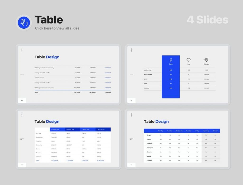 4 Slides Table Voodoo Presentation 4.0.