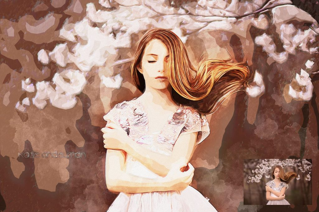 Tempera Modern Aquarelle Art. Modern Art Painting 19 in 1 Photoshop Action Bundle.