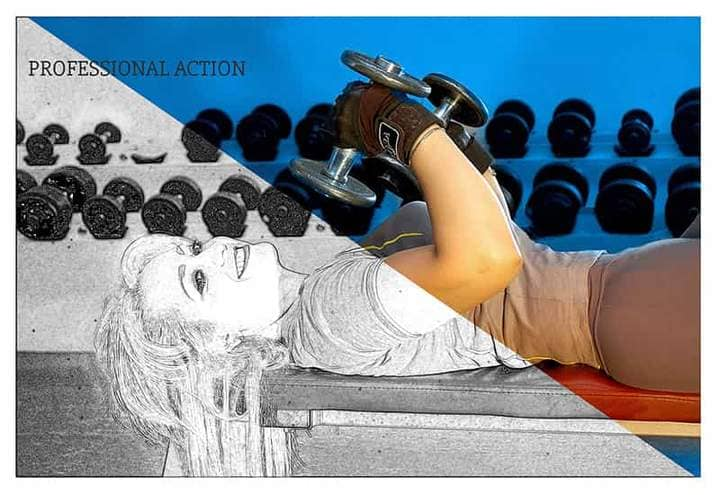 Girl in the Gym Sketch Effect Photoshop. Photos before and after.