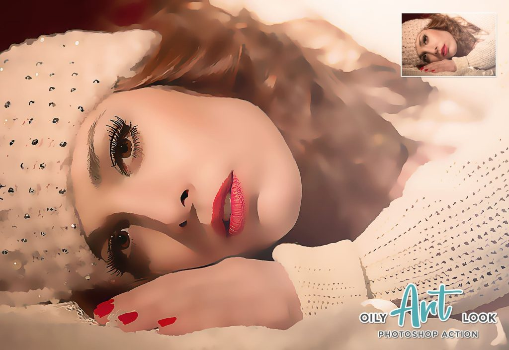 Oily art look. Modern Art Painting 19 in 1 Photoshop Action Bundle.