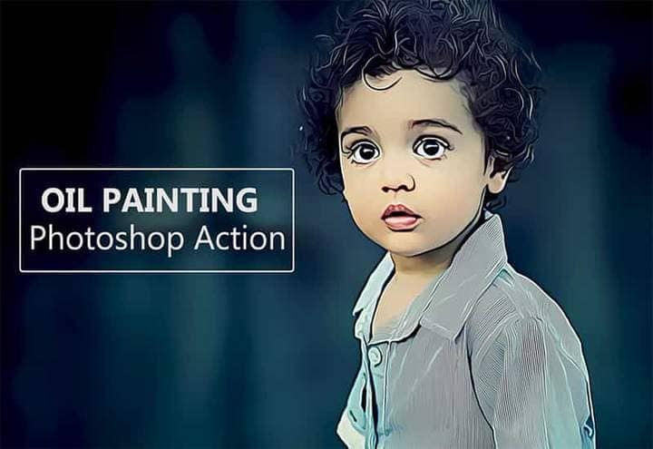 Little Boy The Oil Canvas Photoshop.