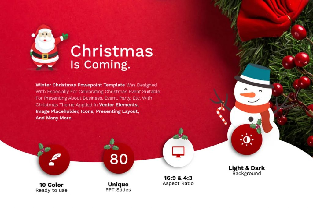 Christmas is coming. Winter Christmas PowerPoint Template.