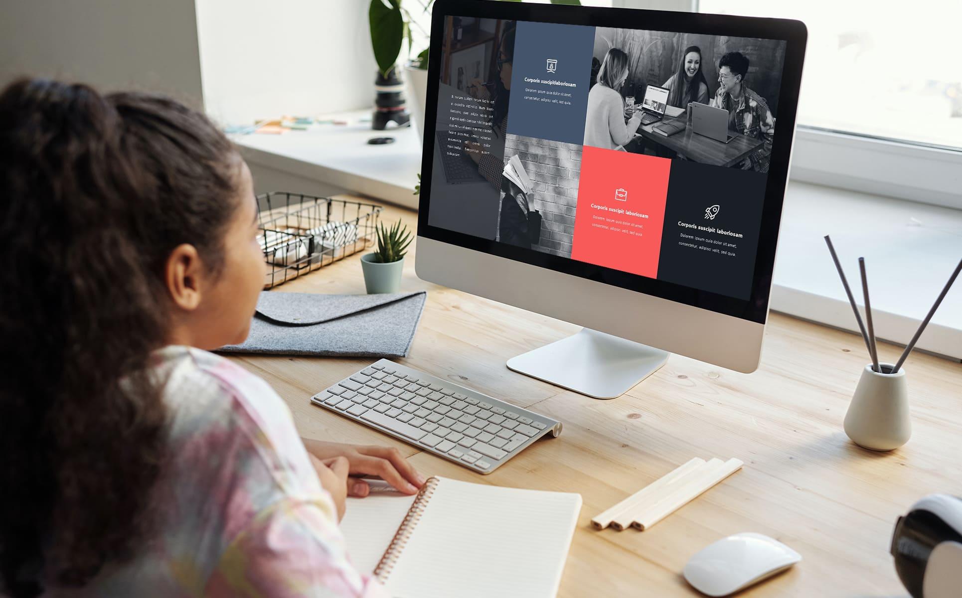 50 Slides Teacher Presentation Template by MasterBundles Desktop preview mockup image.