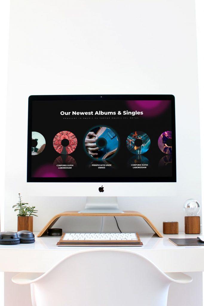 50 Slides Music Presentation Template 2021 by MasterBundles Pinterest Collage Image Desktop preview mockup.