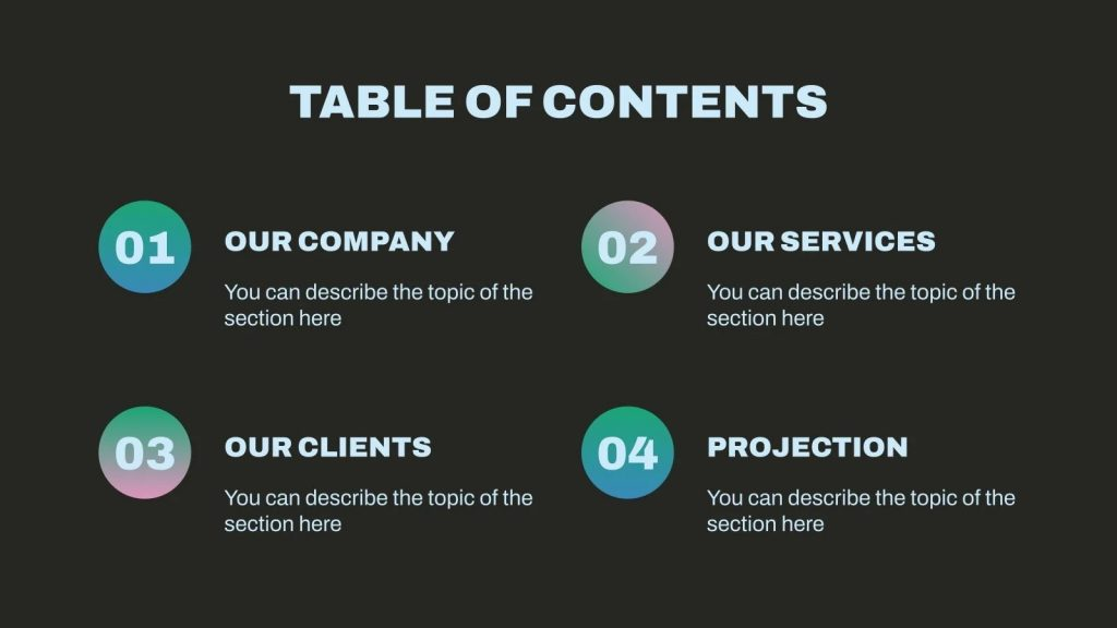 Table with the program and outline of your presentation.