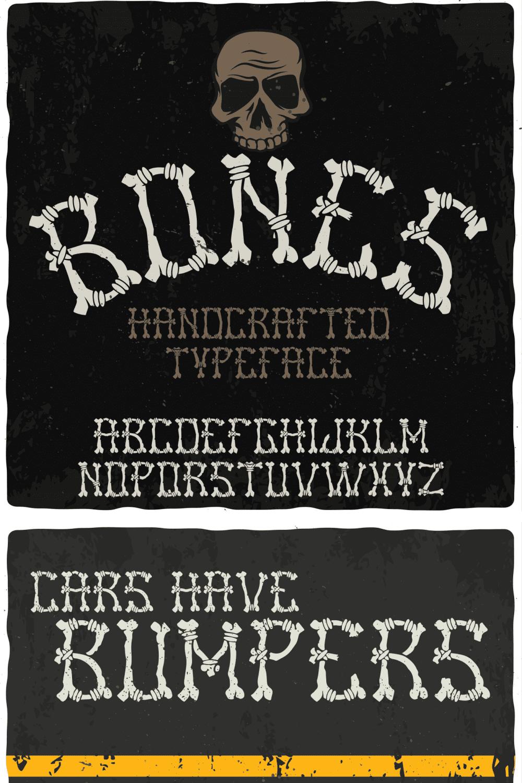Bones Font: Bones Halloween Typeface - MasterBundles - Pinterest Collage Image.