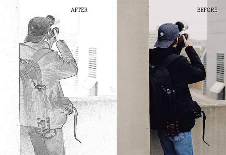 A young man photographs Sketch Effect Photoshop. Photos before and after.