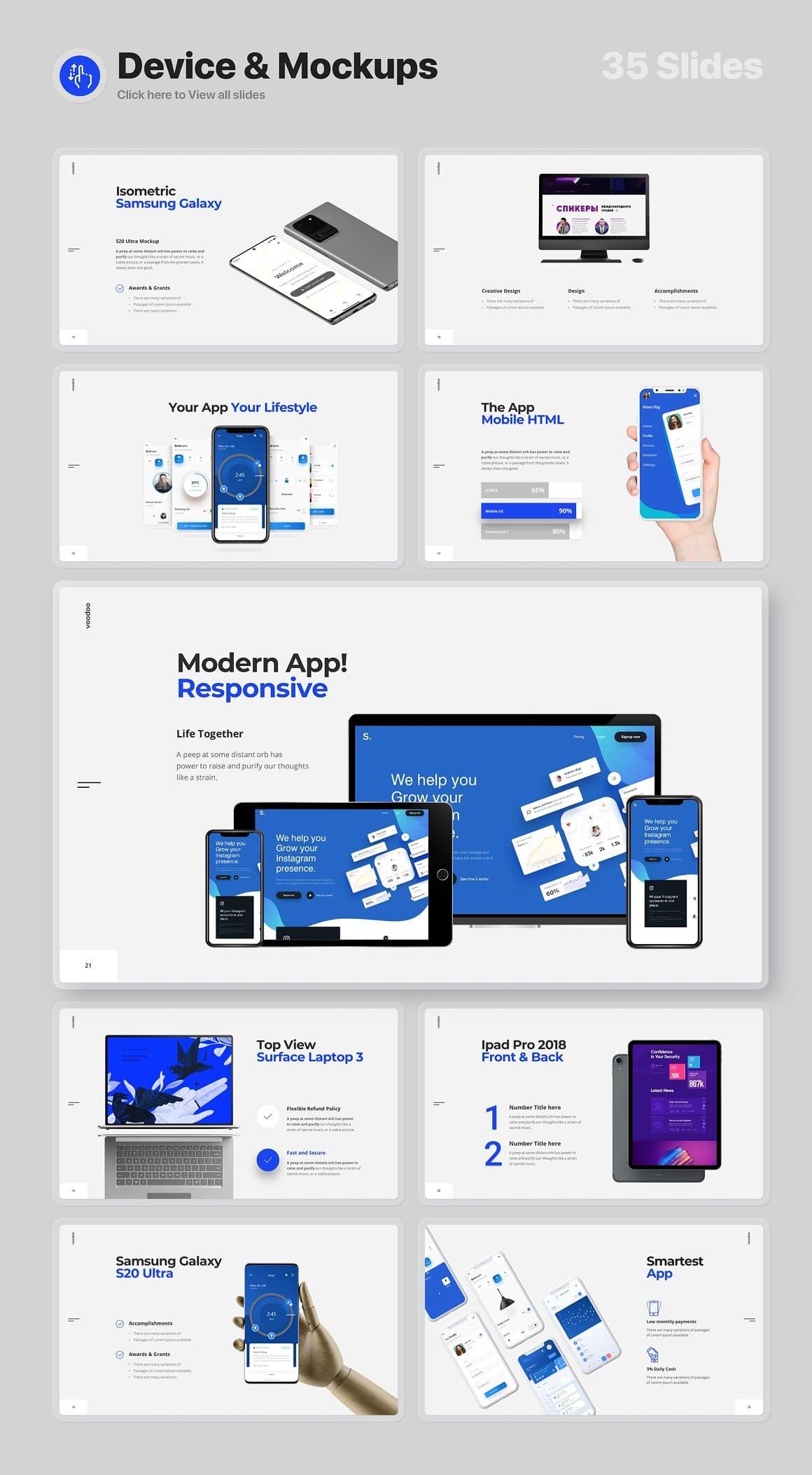 Device slides and mockups Voodoo Presentation 4.0.