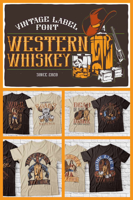 Western Whiskey Font & Isolated Illustrations - MasterBundles - Pinterest Collage Image.