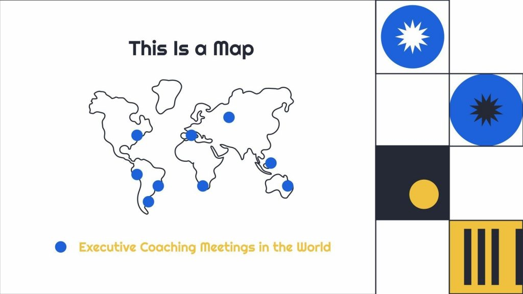 The simplest world map with blue country indicators.