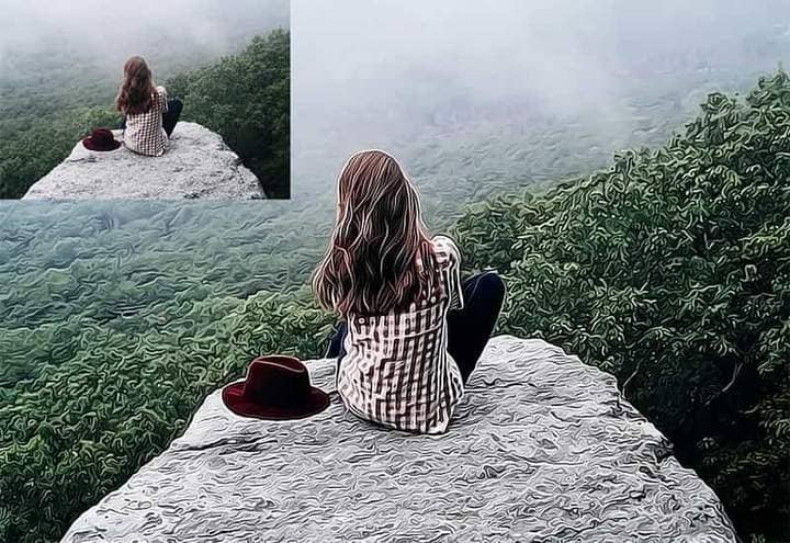 A girl sits on a cliff with The Oil Canvas Photoshop.