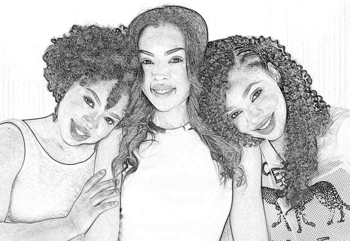 Three Girlfriends Sketch Effect Photoshop.