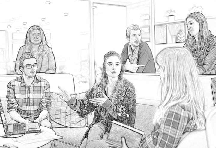 Discussion in the office of Sketch Effect Photoshop.