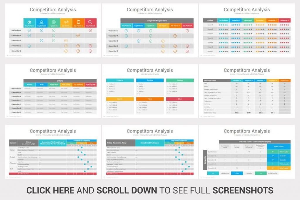 Competitors Analysis Investors PowerPoint Pitch Decks tables.