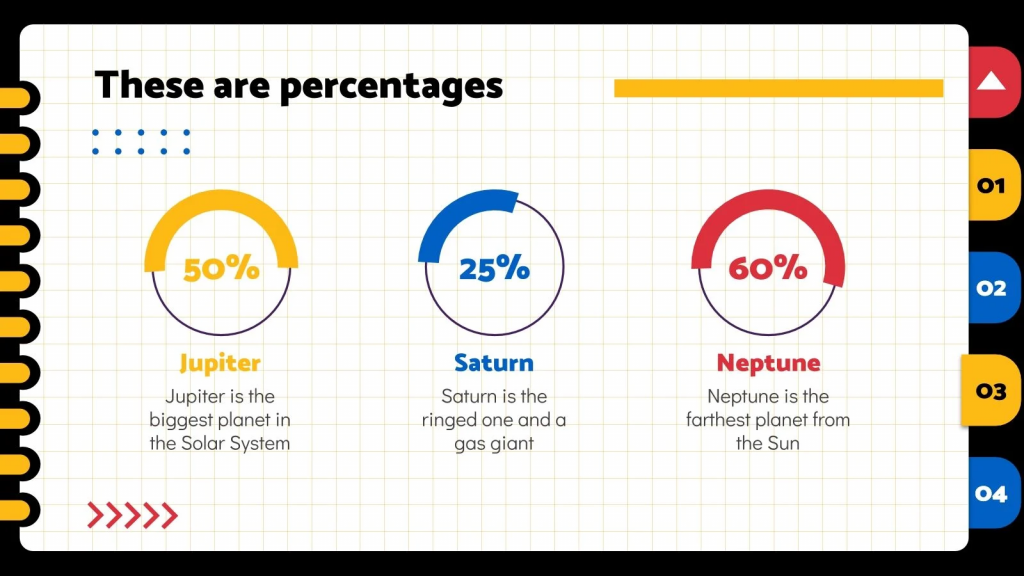 Circular color infographics with percentage indicators.