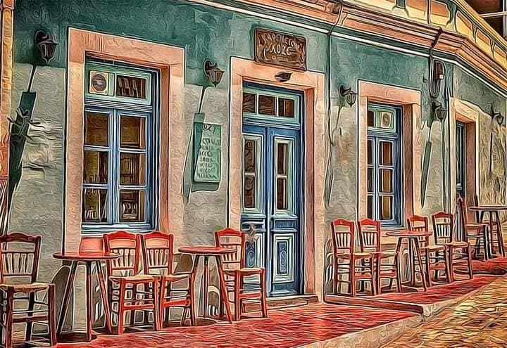 Cozy cafe The Oil Canvas Photoshop.
