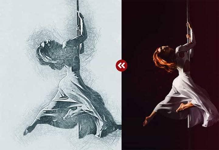Dance Energy Sketch Effect Photoshop.