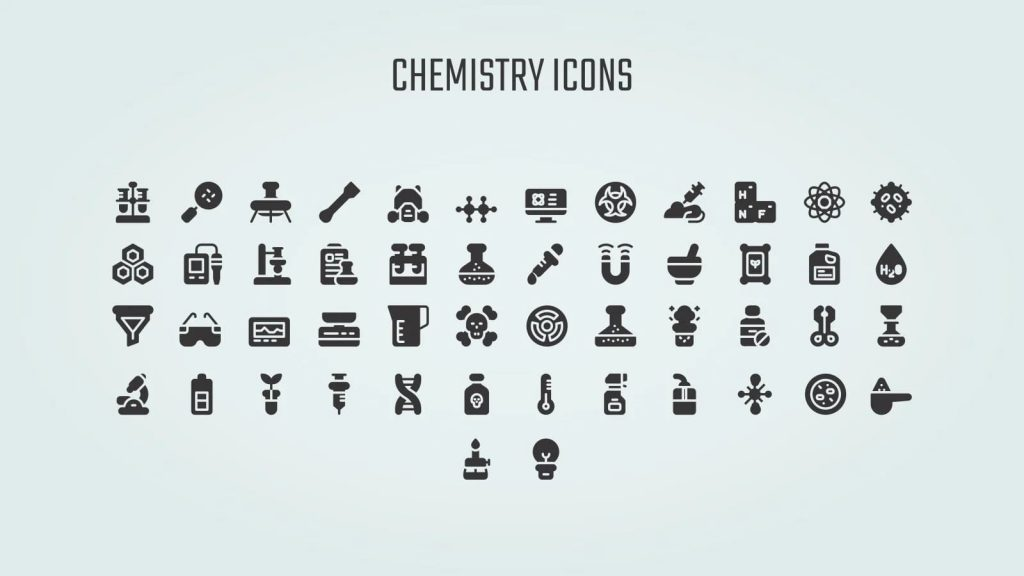 Chemistry icons. Free Science Fair Newsletter Powerpoint Template.