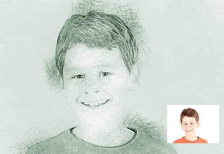 Smiling Boy Sketch Effect Photoshop.