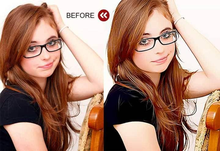 Portrait of a girl with glasses The Oil Canvas Photoshop. Photos before and after.
