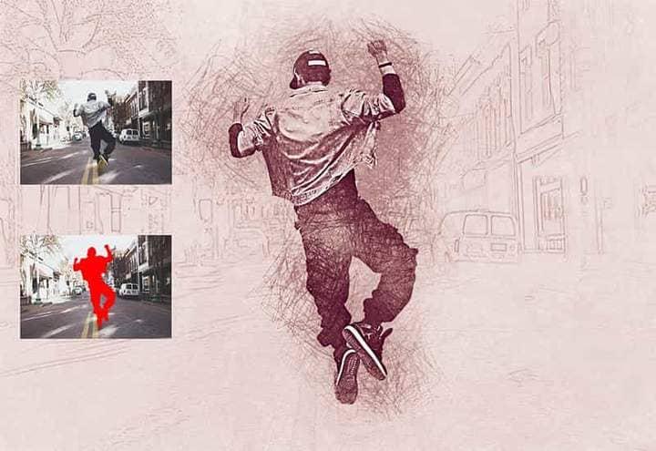 Happy Man Sketch Effect Photoshop.