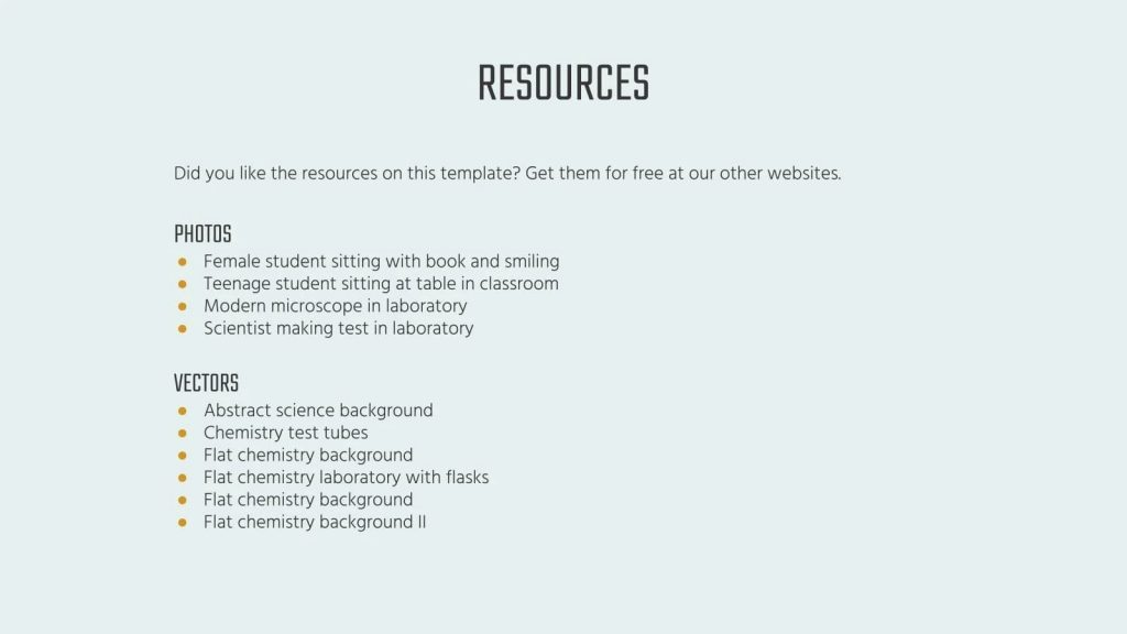 Slide List of resources.