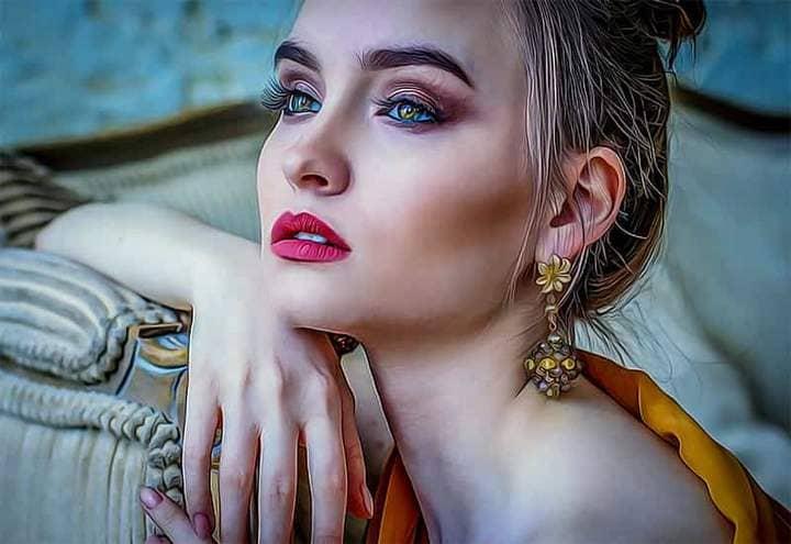 Portrait of a blonde The Oil Canvas Photoshop.
