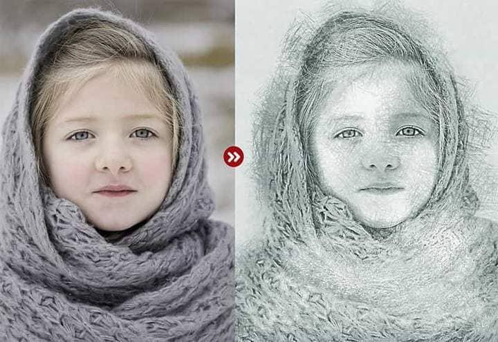 Girl in Shawl Sketch Effect Photoshop.