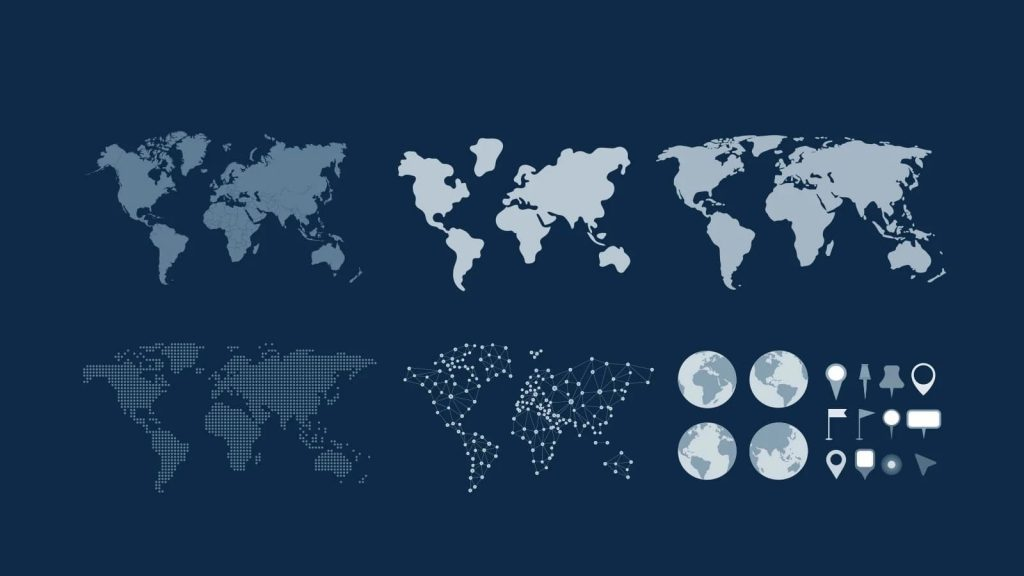 The world map in various variations - from classic to matrix.