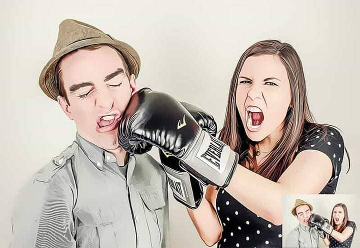 Boy and girl in boxing gloves The Oil Canvas Photoshop.