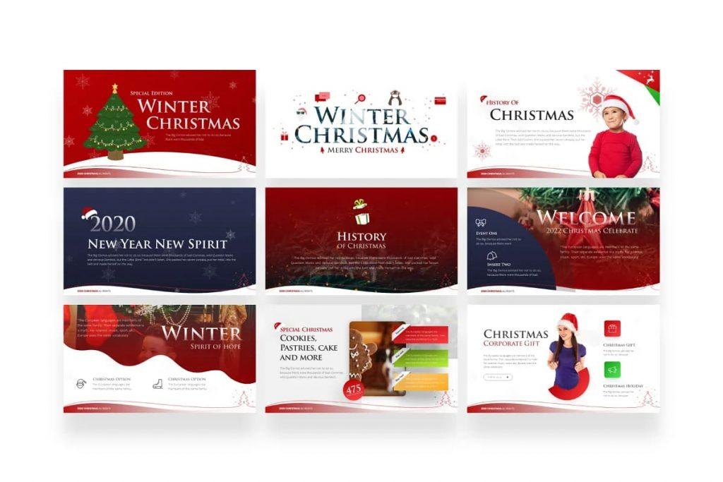 9 Christmas slides.