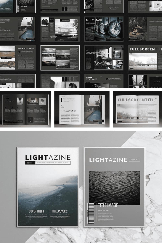 15 InDesign Magazines & Brochures - $29 - MasterBundles - Pinterest Collage Image.