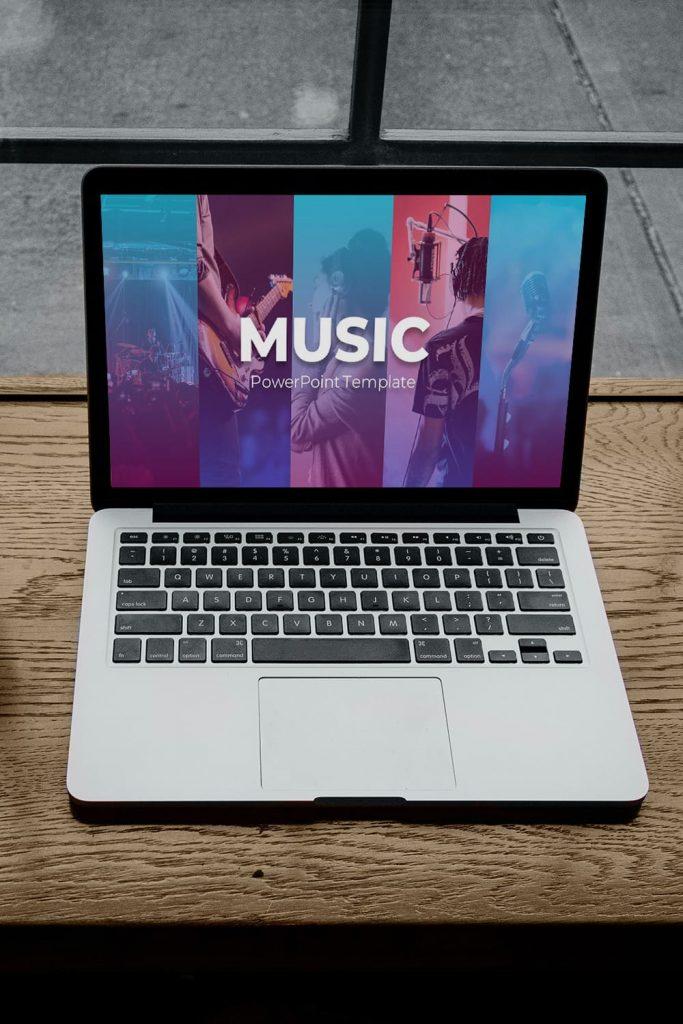 50 Slides Music Presentation Template 2021 by MasterBundles Pinterest Collage Image notebook preview mockup.