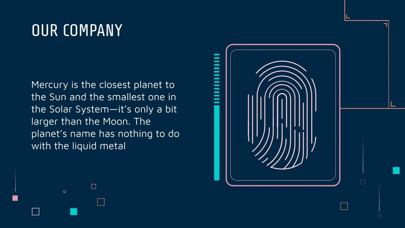 Dark blue slide with fingerprint and text block.
