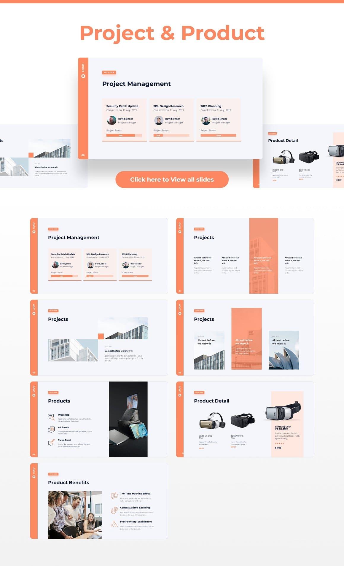 Slides Project & Product Light Theme Pitch Deck & Presentation V3.0.