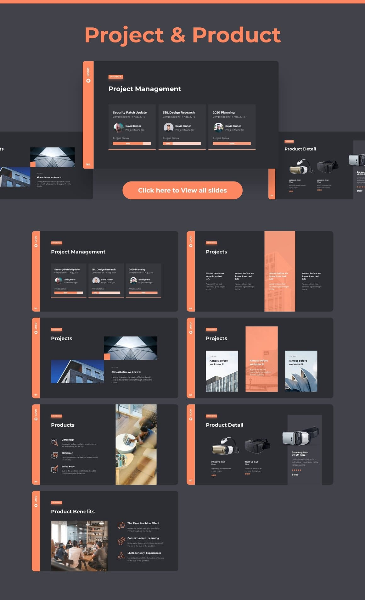 Project & product slides Dark theme Pitch Deck & Presentation V3.0.