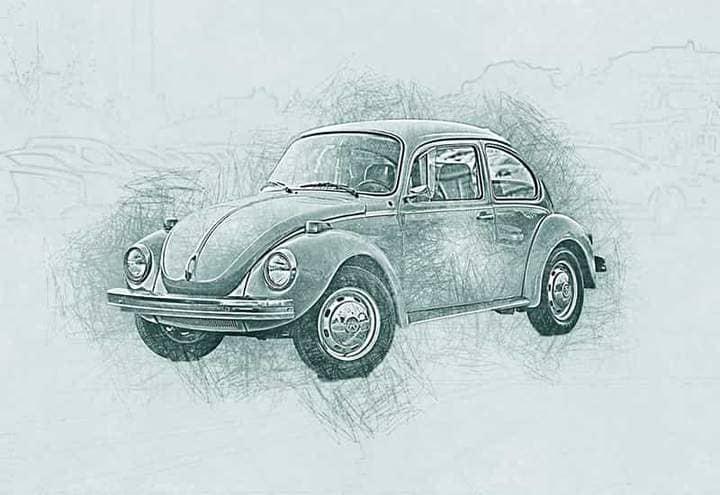 Retro Volkswagen Sketch Effect Photoshop.