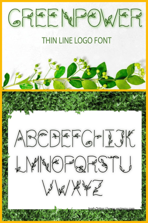 Thin Line Logo Font Greenpower - MasterBundles - Pinterest Collage Image.