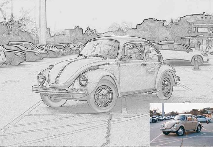 Retro Volkswagen Sketch Effect Photoshop. Photos before and after.