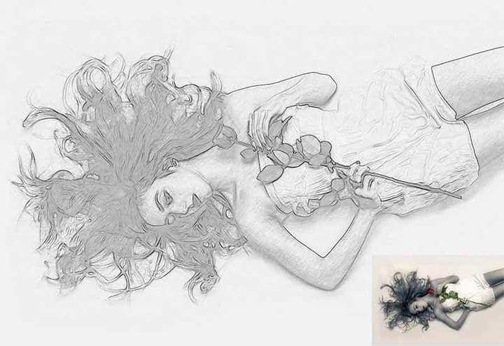 Girl with Flower Sketch Effect Photoshop. Photos before and after.