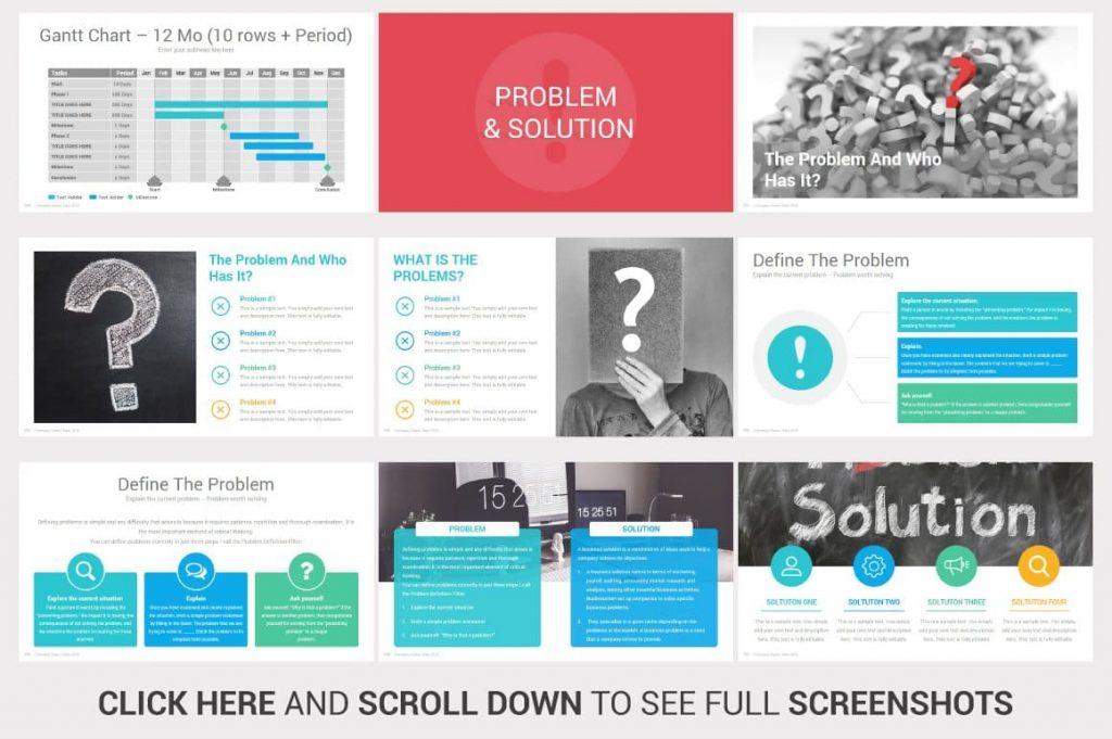 Problem & Solution Analysis Investors PowerPoint Pitch Decks.